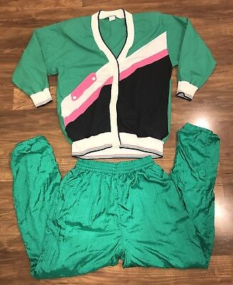 Vtg 80s 90s MEDIUM Green ST PATRICKS DAY Top Jacket TRACK SUIT Coat Pants Womens