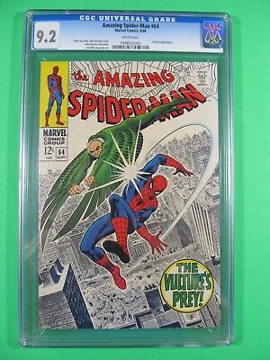 Amazing Spider-Man #64 CGC 9.2 NM- 1968 Marvel Comic Book White Pages Vulture