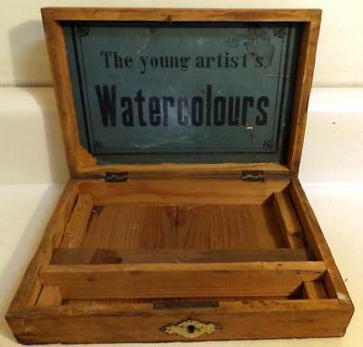 Antique 'YOUNG ARTIST'S WATERCOLOR' Paint Box w Unusual Distressed Finish c1900