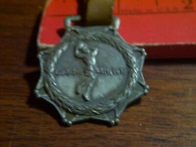 1900s 1920s Watch FOB Laddie Athlete Women's Sports Medal Leather Strap