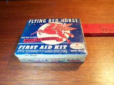 MOBIL FLYING RED HORSE FIRST AID KIT tin box; Petroliana Gas Oil Orig Tin Can