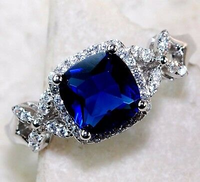 1CT Blue Sapphire & Topaz 925 Solid Genuine Sterling Silver Ring Jewelry Sz 7