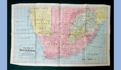 "1899 antique FOLDING WAR MAP OF SOUTH AFRICA s.b.linton 24.75""x15.5"" ~CLEAN!"