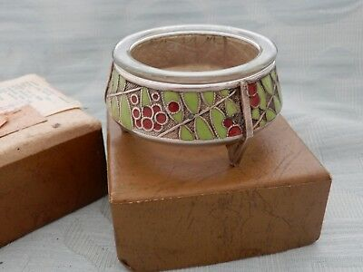 Stylish Mid Century Russian Enameled Salt pot in original box, estate find item