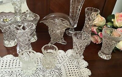 BUD VASES CRYSTAL  10 Vases -  (Various Sizes 6-17cm height) - Lovely Cond