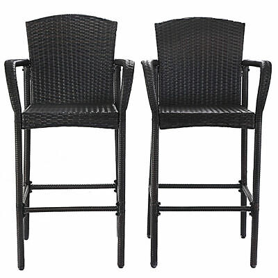 2PCS Rattan Bar Stool Dining High Counter Portable Chair Patio Furniture