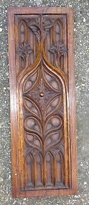 Antique Gothic Church Tracery Carved Oak Panel