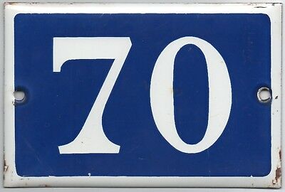 Old blue French house number 70 door gate plate plaque enamel steel metal sign