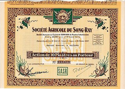 Sc Agricole du Song-Ray Indochina Vietnam Aktie 1927 Saigon Việt Nam Ho-Chi-Minh