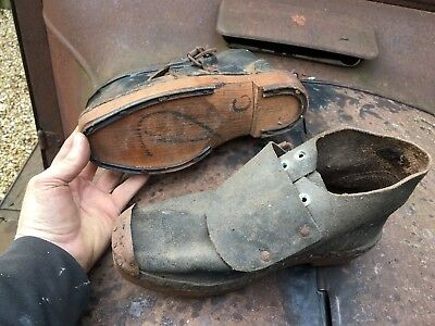 Antique foundry / forge / steel workers' shoes,