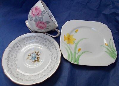 Vintage mismatched floral trio pretty English bone china cup plate saucer #4