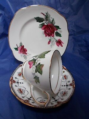 Vintage mismatched floral trio pretty English bone china cup plate saucer #8