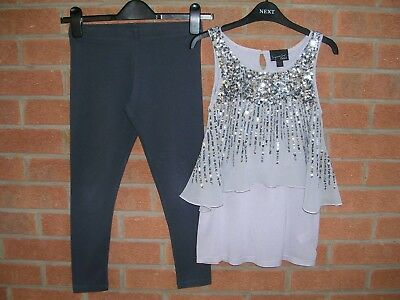 NEXT Girls Grey Sequin Party Tunic Dress & Leggings Set Outfit Age 9 134cm