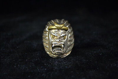 Vintage Collectible handwork Old Tibet Silver carve monkey king angry men Ring