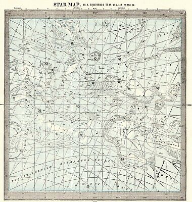 1892 Antique ASTRONOMY Print Star Constellation Map Chart Astrology Map 5124