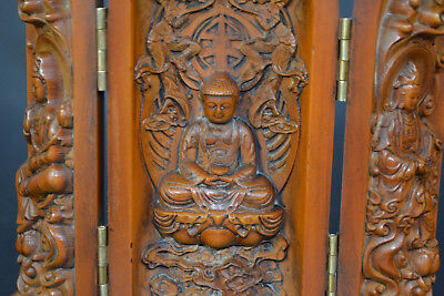 Chinese Collectible Old boxWood Carve handwork God 3 Buddha Statue Box Vintage