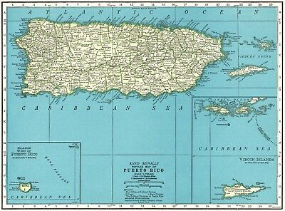 1947 Vintage PUERTO RICO Map Vintage Map of Puerto Rico Gallery Wall Art #5125