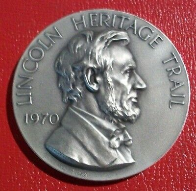 1970 Lincoln Heritage Trail Token By Medallic Art Co.4.75 oz..999 Pure Silver