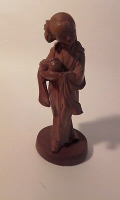Antique Chinese Boxwood carved wood figure of a maiden