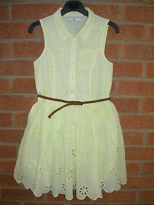 MARKS & SPENCER Girls Yellow Daisy Cotton Summer Party Dress Age 8-9 134cm