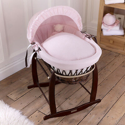 CLAIR DE LUNE Pink WAFFLE PADDED DARK WICKER BABY MOSES BASKET & ROCKING STAND