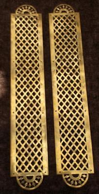 Large Pair of Vintage French Brass Door Finger Plates #FF