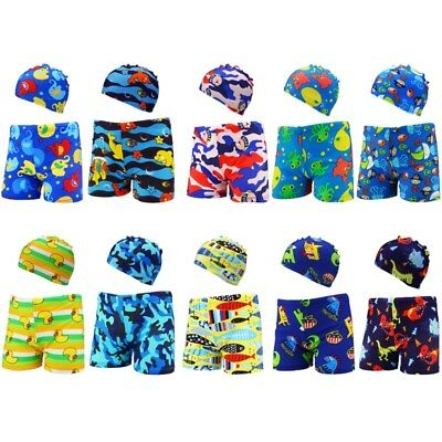 2Pcs Kids Baby Boys Stretch Beach Swimsuit Swimwear Trunks Shorts Hat Outfit New
