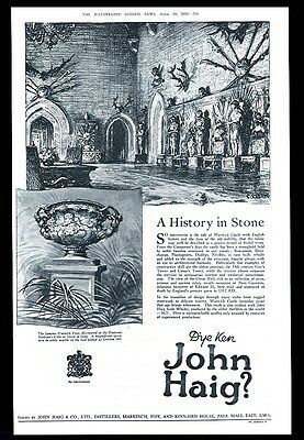 1924 John Haig Scotch whisky Warwick Castle vase art BIG UK vintage print ad