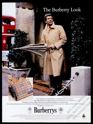 1984 Burberry plaid umbrella trench coat trenchcoat photo vintage print ad