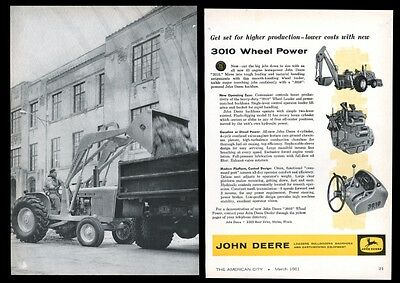 1961 John Deere 3010 Wheel Power loader backhoe tractor photo trade print ad