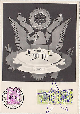 Commemorative Postcard,Battle of the Bulge,WW II Monument,Used,3 Stamps,1950