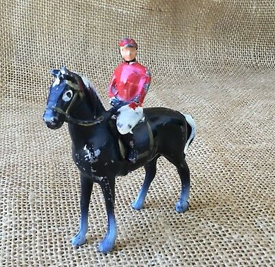 Vintage Metal Horse Jockey Racing Figurine Equestrian Collectible