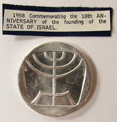 """1958 ISRAEL 5 LIROT PROOF SILVER COIN """"10th ANNIVERSARY FOUNDING"""" 34mm - 25.0 gr"""