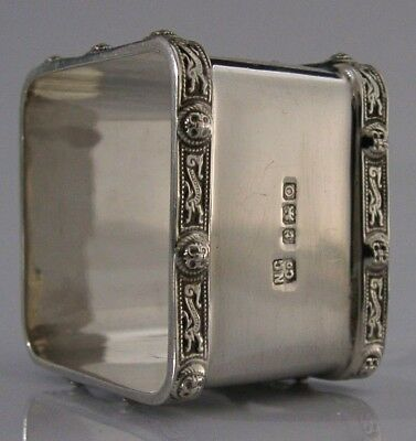 Solid Silver Celtic Dragon Napkin Ring Birmingham 1913 Antique Superb