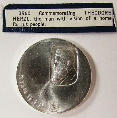 """1960 ISRAEL 5 LIROT PROOF SILVER COIN """"THEODORE HERZL"""" 34mm - 25.0 grams"""