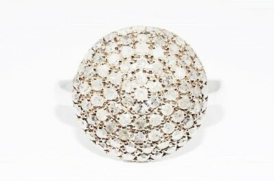 $1,100 1.00Ct Natural Round White Diamond Cluster Silver Ring Size 7.25