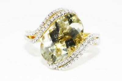6.40Ct Natural Green Amethyst & Cubic Zirconia Cocktail Silver Ring Size 7