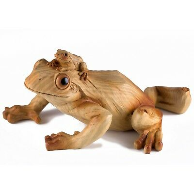 Mother Frog With Baby Carved Wood Look Figurine Resin 7 Inch Long New In Box!