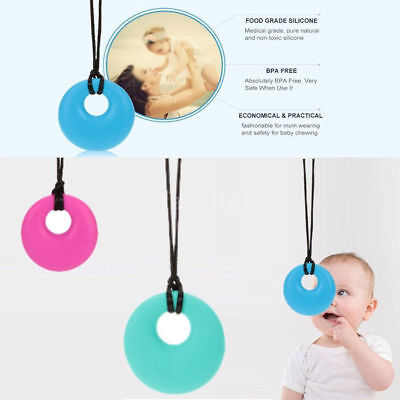 Teething Chew Necklaces Sensory Chew Silicone Necklace Pendant BPA Free Autism