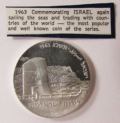 """1963 ISRAEL 5 LIROT PROOF SILVER COIN """"SEAFARING"""" 34mm - 25.0 grams"""