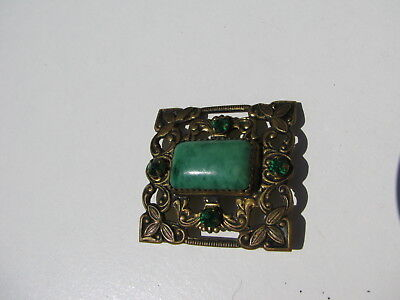 Antique Vintage Victorian Green Celluloid Cabochon Stone Brass Bronze Metal Pin