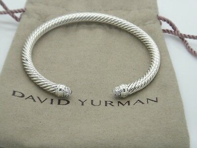 David Yurman Sterling Silver 5mm Diamond Cuff Bracelet Size 6.25
