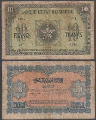 1943 WW II First Issue Occupied Morocco 10 Francs