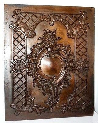 Antique *heavy* Victorian Cast Iron Fireplace Fireback / Cover W/ Copper Finish.