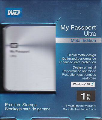 WD My Passport Ultra 1TB Portable External Hard Drive Metal Edition Silver