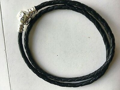 Pandora double black leather bracelet 38cm long