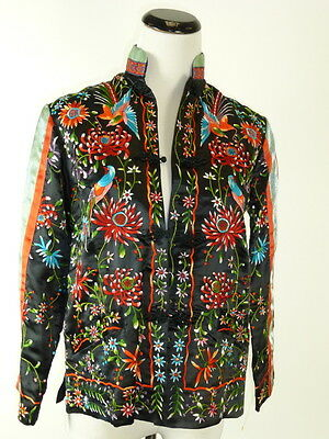 Vtg Plum Blossom Chinese Black Multicolor Birds Embroidered Jacket Top 32 Xs S