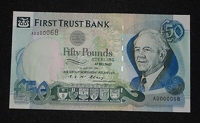 1994 FIRST TRUST £50 (AIB PBOI)  Belfast  Serial  AD000068   UNC  * LOW SERIAL*