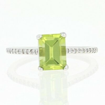 NEW Peridot Solitaire Ring - 10k White Gold Diamond Accents 1.76ctw