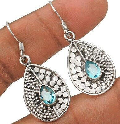 """Aquamarine 925 Solid Sterling Silver Earrings Jewelry 1 1/2"""" Long"""